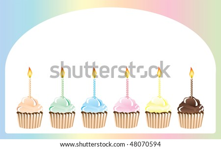 an illustration of birthday cupcakes in rainbow shades with space for text