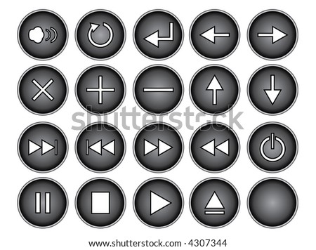 An illustration of black round buttons isolated on a white background. These are buttons that might be found on a remote or cd/dvd player. - stock photo