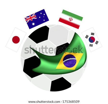 An Illustration of Brazil Flags on A Soccer Ball or Football of Brazil Championship , Isolated on A White Background.  - stock photo