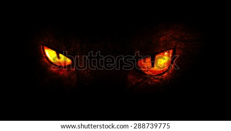An illustration of burning demonic eyes.