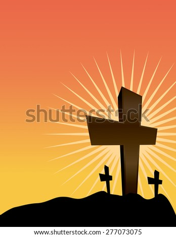 An illustration of Christian crosses silhouetted against a sunrise.  - stock photo