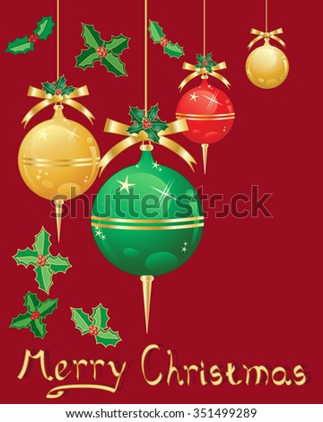 an illustration of christmas decorations in metallic red gold and green with ribbon and holly on a dark red background - stock photo