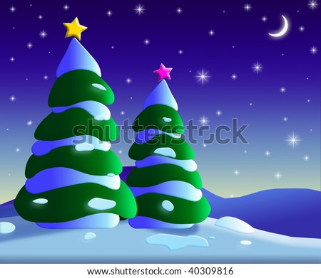 An illustration of Christmas trees at night - stock photo