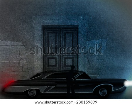 An illustration of classic car take a stop near the mansion entrance - stock photo