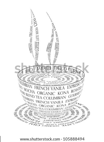 Illustration Coffee Cup Made Text Stock Illustration 105888494 ...