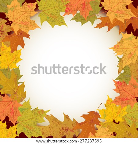 An illustration of colorful autumn maple and oak leaves forming a circle. Room for copy.