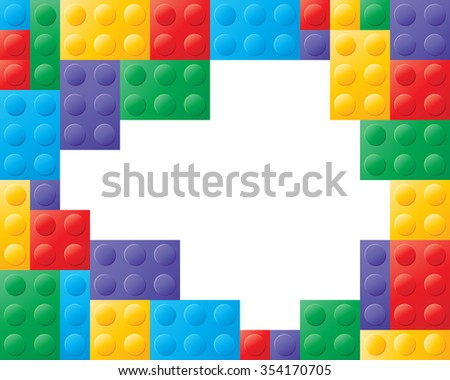 an illustration of colorful building blocks in red yellow green blue and purple with white space in the center for text