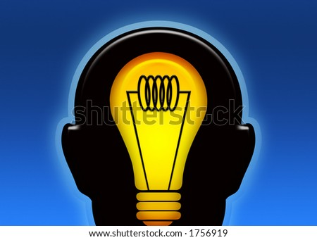 An illustration of coming up with a bright idea - stock photo