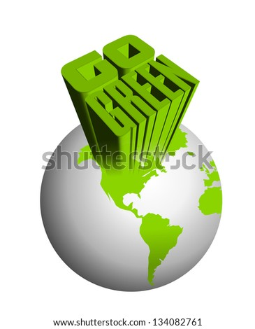 An illustration of 3d go green icon - stock photo