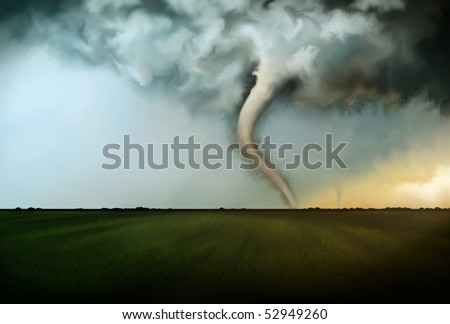 an illustration of deadly tornadoes destroying farmland in Oklahoma under a raging stormy sky