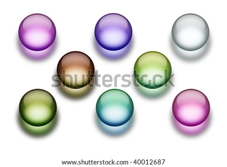 An illustration of 8 different aqua buttons - stock photo