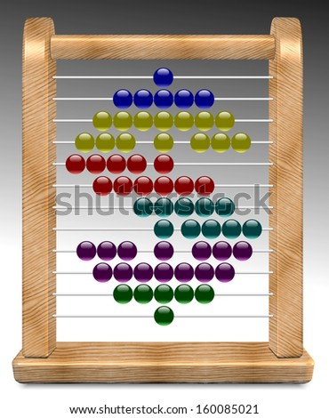 An illustration of dollar shape made on a wooden abacus / Abacus and dollar - stock photo