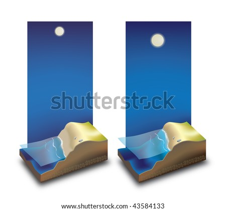 An illustration of ebb and flood. - stock photo