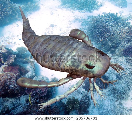 An illustration of eurypterus exploring sea floor. Eurypterids are related to arachnids and include the largest known arthropods to have ever lived (460 to 248 million years ago).
