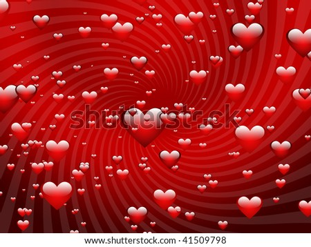 An illustration of flying hearts. Abstract background for cards. - stock photo