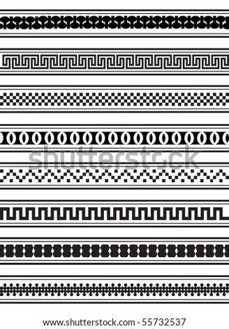 An illustration of geometric border patterns in black and white - stock photo