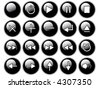 An illustration of glossy black buttons isolated on a white background. These are buttons that might be found on a remote or cd/dvd player. - stock vector