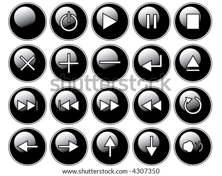 An illustration of glossy black buttons isolated on a white background. These are buttons that might be found on a remote or cd/dvd player. - stock photo
