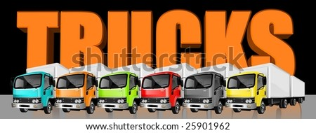 An Illustration of heavy cargo trucks banner in different colors - stock photo