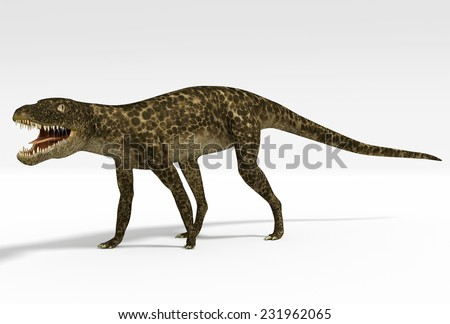 An illustration of Hesperosuchus, an extinct genus of crocodylomorph reptile that contains a single species, Hesperosuchus agilis. Remains of this sphenosuchian have been found in Late Triassic strata