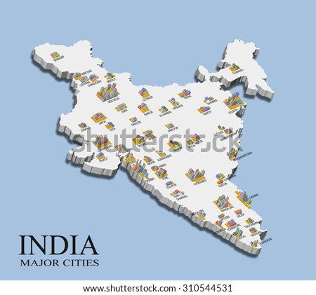 An illustration of India map with major city population shown in bars - stock photo