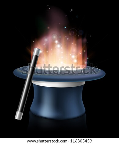An illustration of magic hat and magic wand with glowing magic light coming out of the hat