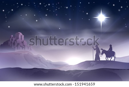 An illustration of Mary and Joseph in the dessert with a donkey on Christmas Eve searching for a place to stay. Bethlehem city in the background. Nativity story illustration. - stock photo