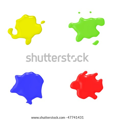 An illustration of 4 nice abstract color splashes - stock photo