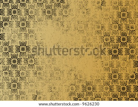 An illustration of old vintage paper with floral background (Wallpaper) - stock photo