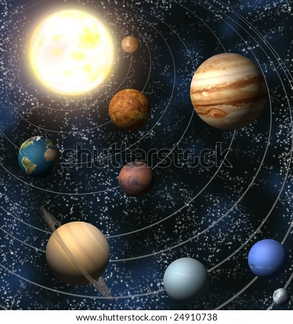An illustration of our solar system. Maps from http://planetpixelemporium.com/ - stock photo