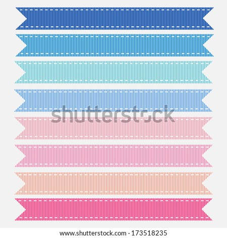 An Illustration of Pastel Pink and Blue Grosgrain Ribbons for a Baby Shower. Also see other color sets. - stock photo