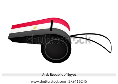 An Illustration of Red, White and Black Bands with The Eagle of Saladin of The Arab Republic of Egypt Flag on A Whistle, The Sport Concept and Political Symbol.  - stock photo