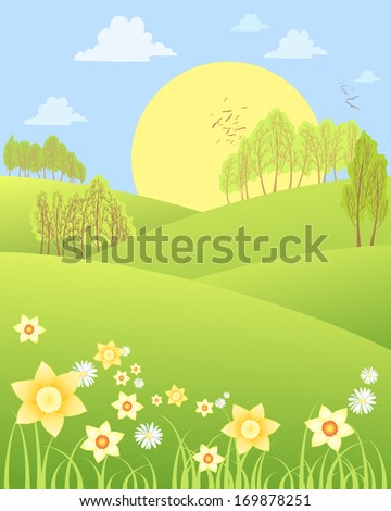 an illustration of rural spring scenery with rolling hills daffodils daisies and trees with a big yellow sun