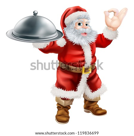 An illustration of Santa Claus doing a chef's perfect sign with his hand and holding a covered tray of food - stock photo