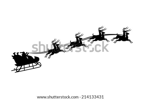 An Illustration of Santa Claus riding in a sleigh with harness on the reindeer - stock photo