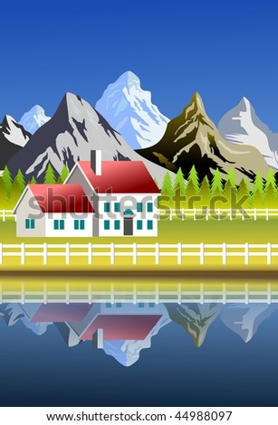 An illustration of scenic landscape with farm and mountains