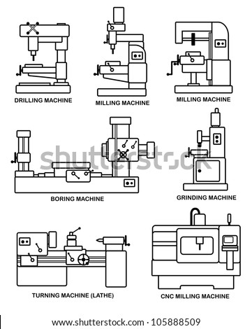 An illustration of set of machine tools - stock photo
