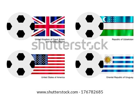 An Illustration of Soccer Balls or Footballs with Flags of United Kingdom, Uzbekistan, United States of America and Uruguay Isolated on A White Background.  - stock photo