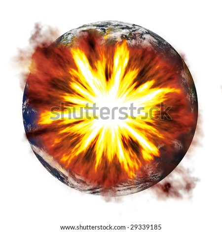 An illustration of the earth exploding from an asteroid or other nuclear weapon. - stock photo