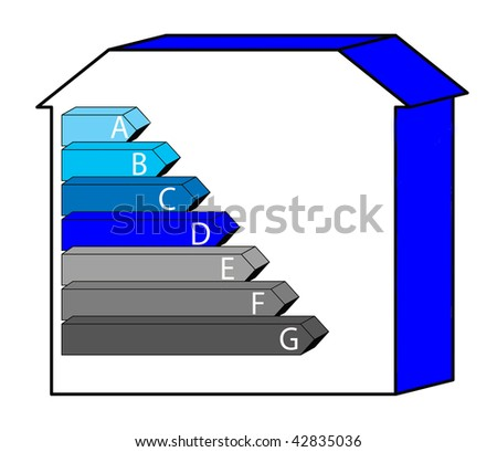 An Illustration of the Envoironmental Impact Rating ( CO2 ) House - stock photo