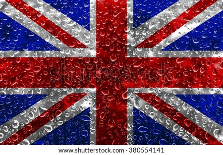 An illustration of The Union Jack Flag with water drops.