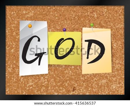 Illustration Word God Written On Pieces Stock Illustration 415636537