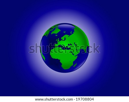An illustration of the world in blue and green