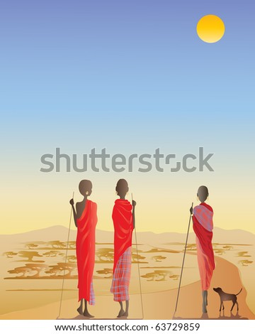 an illustration of three masai men on a dirt track with a small dog looking towards acacia trees and distant hills - stock photo