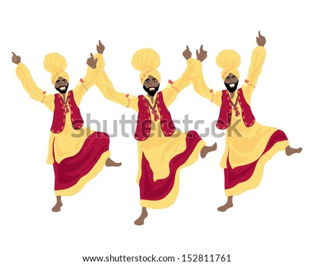 an illustration of three punjabi men performing a bhangra dance in colorful red and yellow traditional dress on a white background