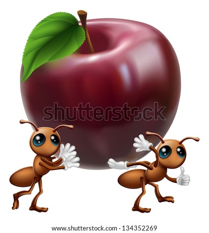 An illustration of two ant characters carrying a big apple. A conceptual illustration for teamwork or helping each other. - stock photo