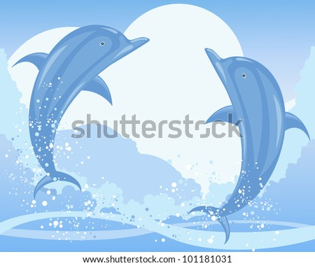 an illustration of two blue dolphins jumping from the sea with waves bubbles and foam under a pale sky - stock photo
