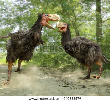 An illustration of two male Gastornis fighting over a nested territory.  Gastornis are an extinct genus of large flightless birds that lived during the late Paleocene and Eocene epochs. - stock photo
