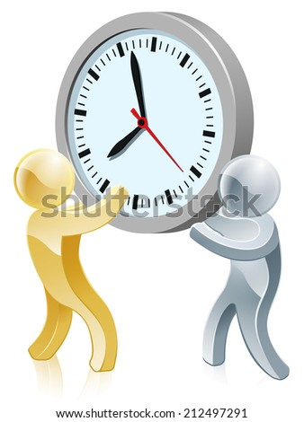 An illustration of two people holding a giant clock business concept