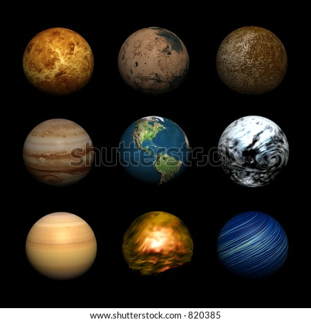 An illustration of various planets - stock photo